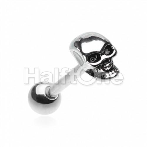 Skull Head Steel Barbell Tongue Ring