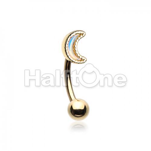 Golden Illuminating Moon Curved Barbell Eyebrow Ring