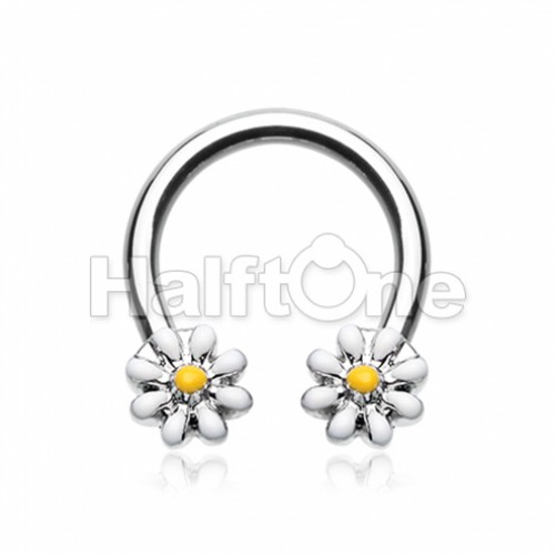 Daisy Flower Horseshoe Circular Barbell