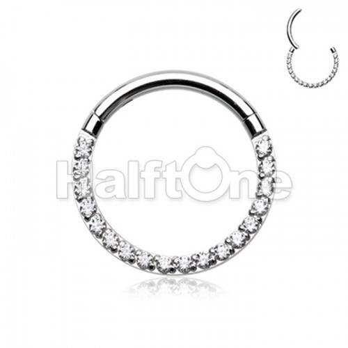Front Facing Multi Gem Steel Seamless Hinged Clicker Ring