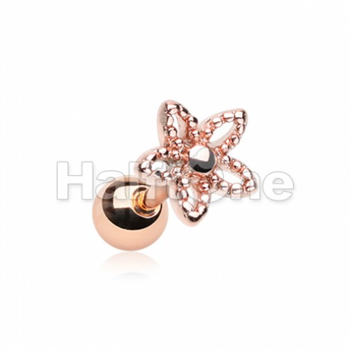 Rose Gold Ornate Five Petal Cut Out Spring Flower Cartilage Tragus Earring