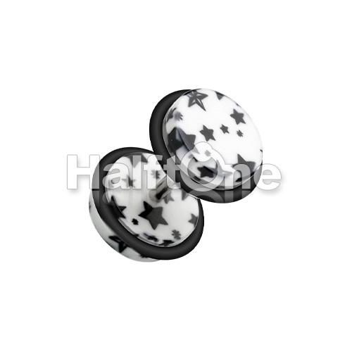 Multi Star Print Acrylic Fake Plug with O-Rings