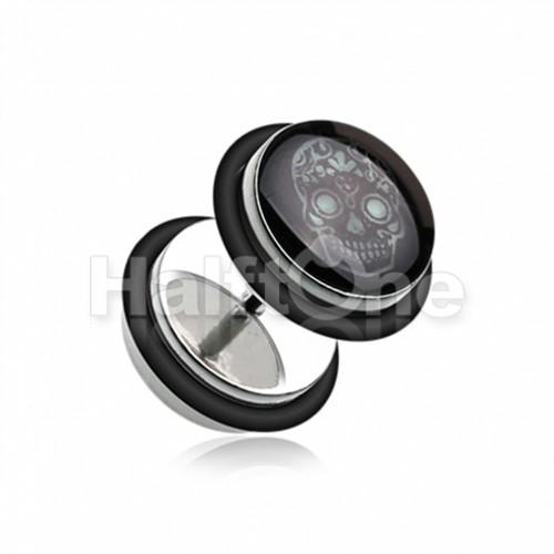 Glow in the Dark Sugar Skull Steel Fake Plug with O-Rings