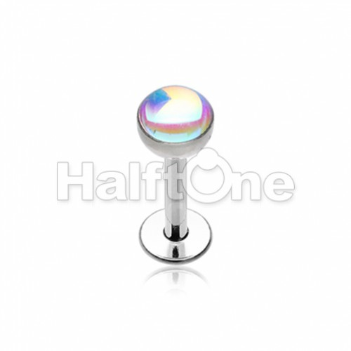 Synthetic Moonstone Dome Steel Labret