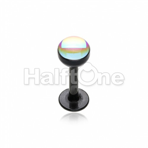 Colored Synthetic Moonstone Dome Steel Labret