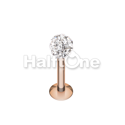 Rose Gold Multi-Sprinkle Dot Multi Gem Ball Steel Labret