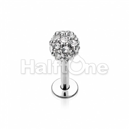 Full Dome Pave Top Steel Labret