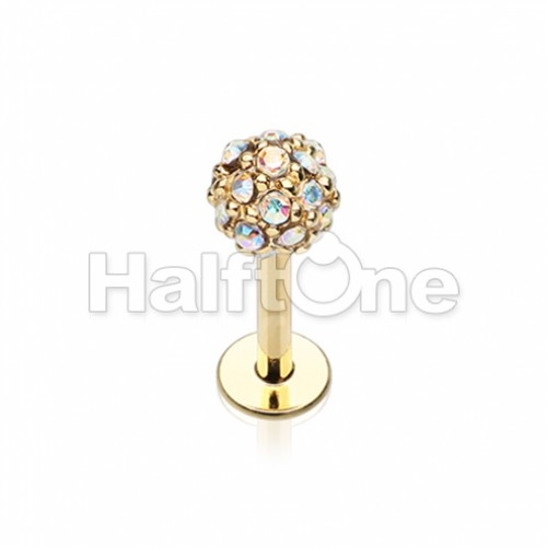 Golden Full Dome Pave Top Steel Labret