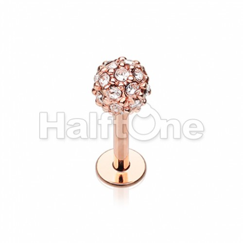 Rose Gold Full Dome Pave Top Steel Labret