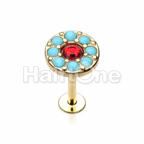 Golden Sparkle Turquoise Top Steel Labret