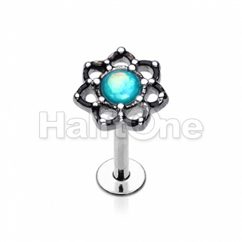 Lotus Opal Sparkle Filigree Top Steel Labret
