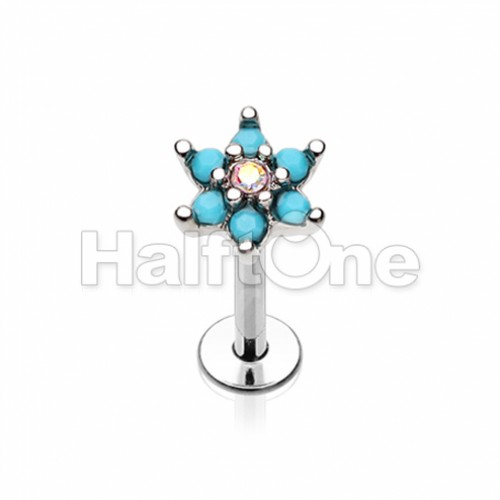 Turquoise Spring Flower Sparkle Top Steel Labret