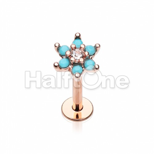 Rose Gold Turquoise Spring Flower Sparkle Top Steel Labret