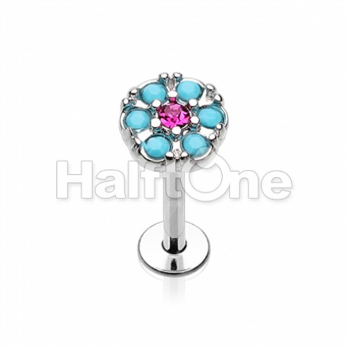 Gypsy Round Turquoise Top Steel Labret