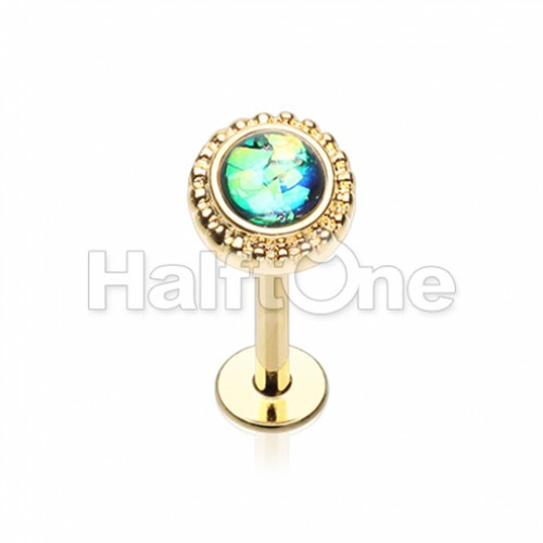 Golden Ornate Round Top Steel Labret