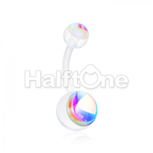 Illuniating Moonstone Bio Flexible Shaft Acrylic Ball Belly Button Ring
