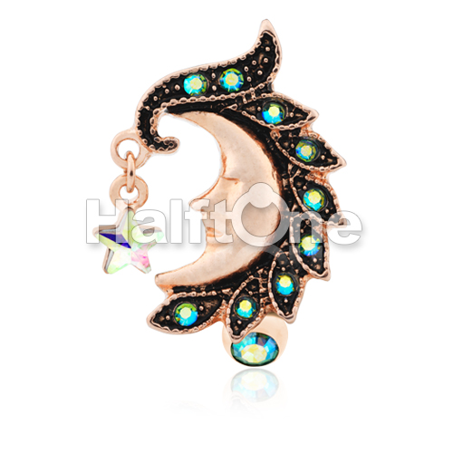 Rose Gold Heavenly Moon Face Reverse Drop Top Belly Button Ring