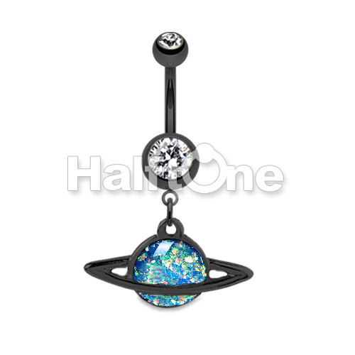 black saturn planet opal belly button ring