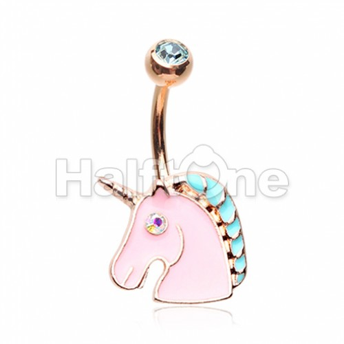 Rose Gold Stay Magical Unicorn Belly Button Ring
