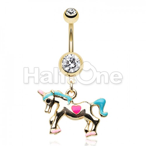 Golden I Believe in Unicorns Belly Button Ring