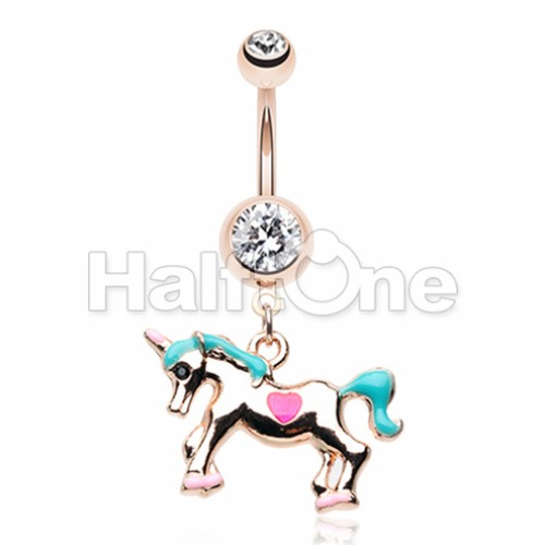 Rose Gold I Believe in Unicorns Belly Button Ring