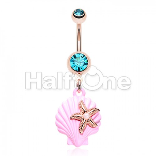 Rose Gold Under the Seashell Belly Button Ring