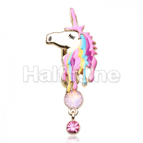 Golden Magical Unicorn Belly Button Ring