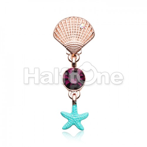 Rose Gold Hawaiian Sea Shell Star Belly Button Ring