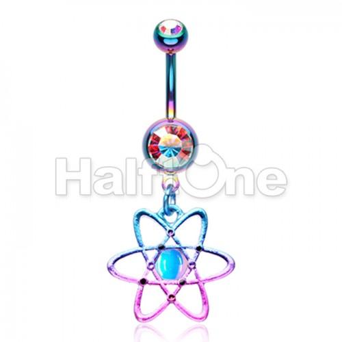 Atomic Atom Dark Matter Symbol Gem Belly Button Ring