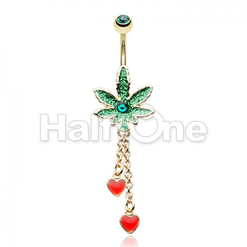Royal Highness Cannabis Pot Leaf Dangle Belly Button Ring