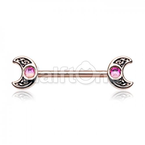 Rose Gold Treasure Celtic Moon Nipple Barbell Ring