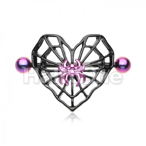 Black Spiderweb Heart Nipple Shield Ring