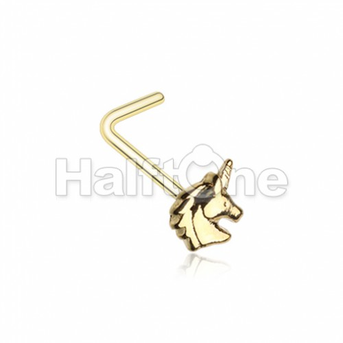 Golden Believe in Unicorns L-Shape Nose Ring