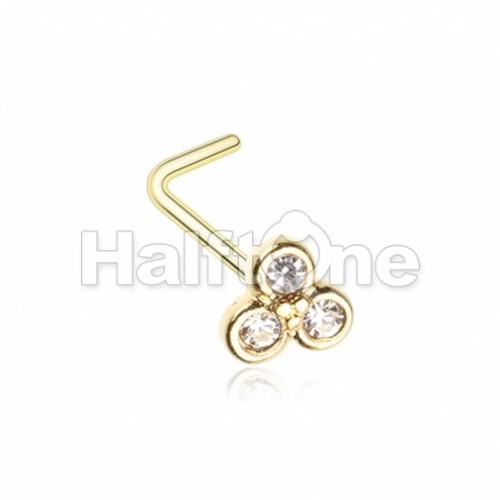 Golden Bezel Trilogy L-Shape Nose Ring