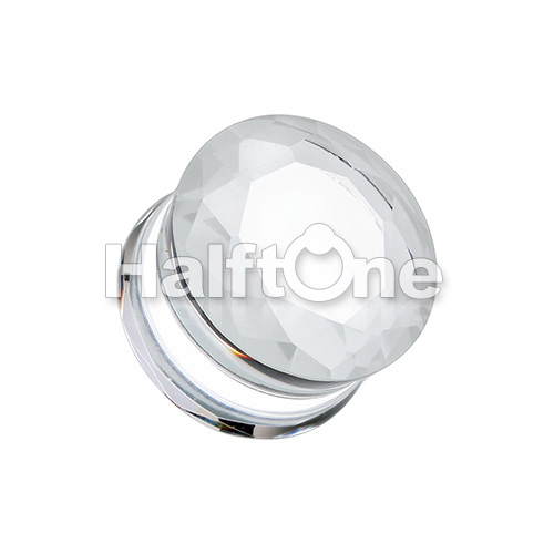 Double Sided Faceted Pyrex Glass Gemstone Double Flared Ear Gauge Plug
