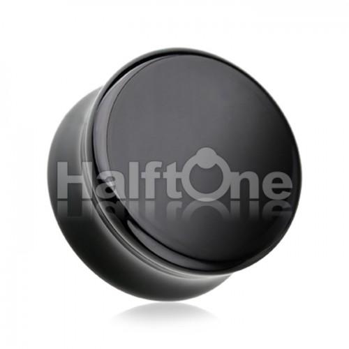 Black Agate Natural Stone Double Flared Ear Gauge Plug