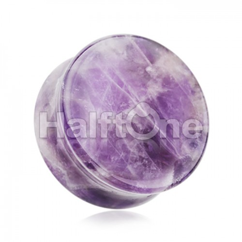 Amethyst Natural Stone Double Flared Ear Gauge Plug