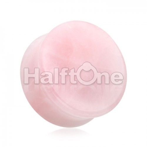 Pink Rose Quartz Natural Stone Double Flared Ear Gauge Plug