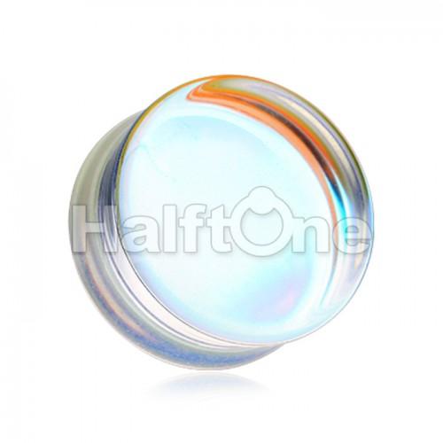 Luminous Iridescent Flat Glass Natural Stone Double Flared Ear Gauge Plug