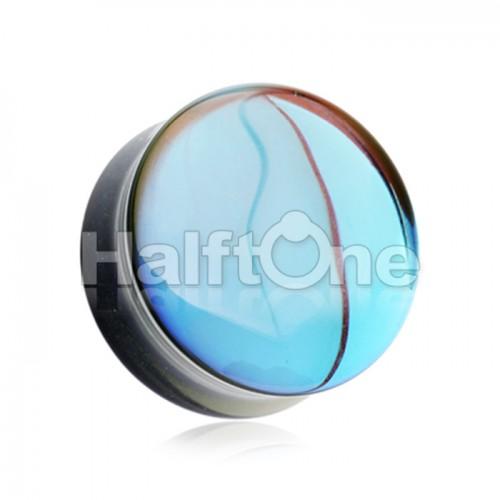Midnight Moonstone Iridescent Glass Double Flared Ear Gauge Plug
