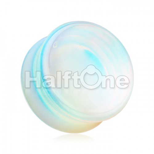 Concave Opalite Stone Double Flared Ear Gauge Plug