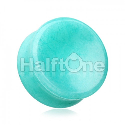 Concave Amazonite Natural Stone Double Flared Ear Gauge Plug