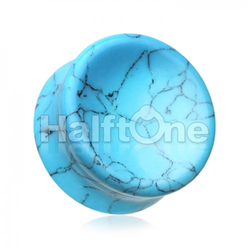 Concave Turquoise Howlite Stone Double Flared Ear Gauge Plug