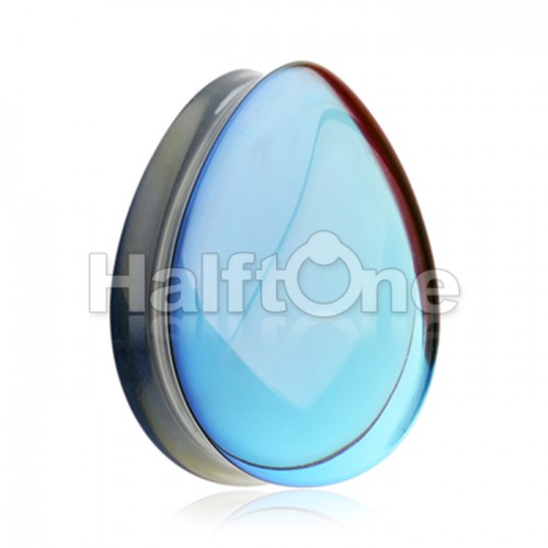 Midnight Moonstone Iridescent TearDrop Glass Double Flared Ear Gauge Plug