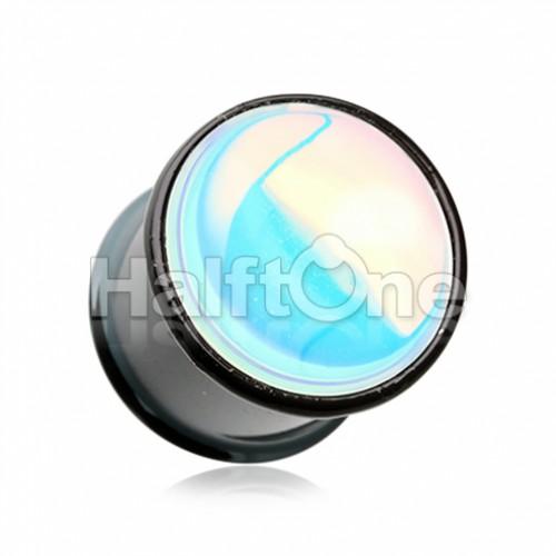 Black Synthetic Moonstone Iridescence Double Flared Ear Gauge Plug