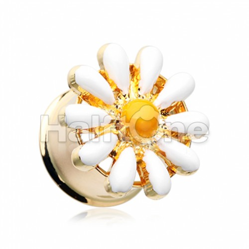 Golden Daisy Flower Double Flared Ear Gauge Plug