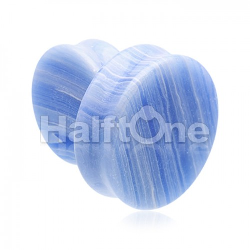 Supersize Blue Lace Agate Stone Double Flared Ear Gauge Plug