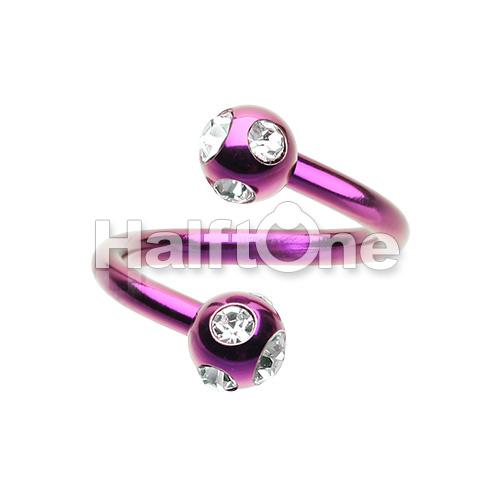 Colorline PVD Aurora Gem Ball Twist Spiral Ring