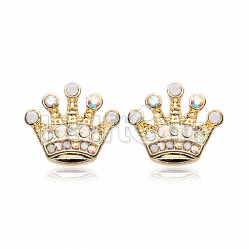 Golden Crown Jewel Multi-Gem Ear Stud Earrings