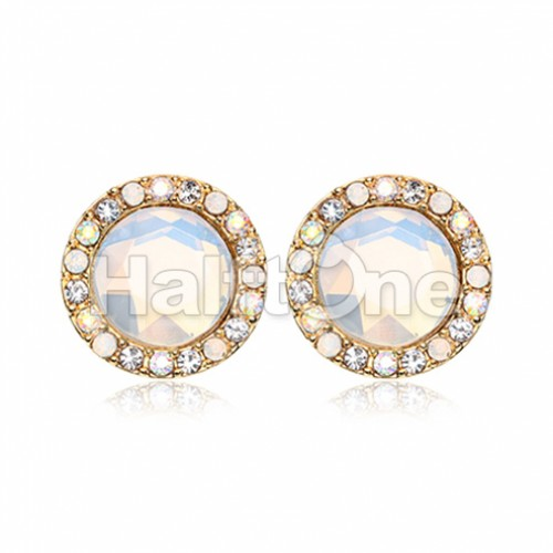 Golden Round Crown Faceted Jeweled Combo Ear Stud Earrings